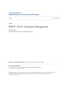 BMGT 322.01: Operations Management - ScholarWorks