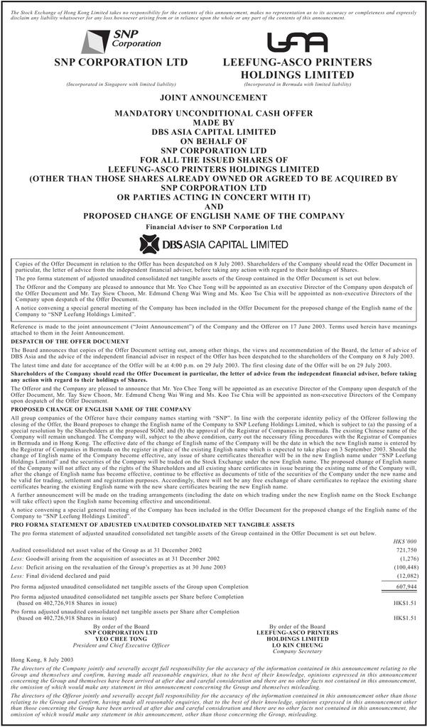 snp corporation ltd leefung-asco printers holdings limited