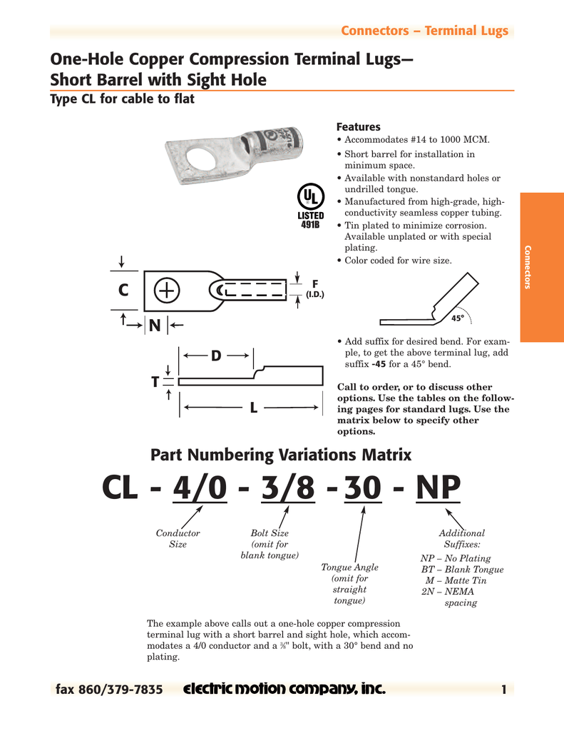 Pdf Electric Motion Company Tang Crimping 3 Hole
