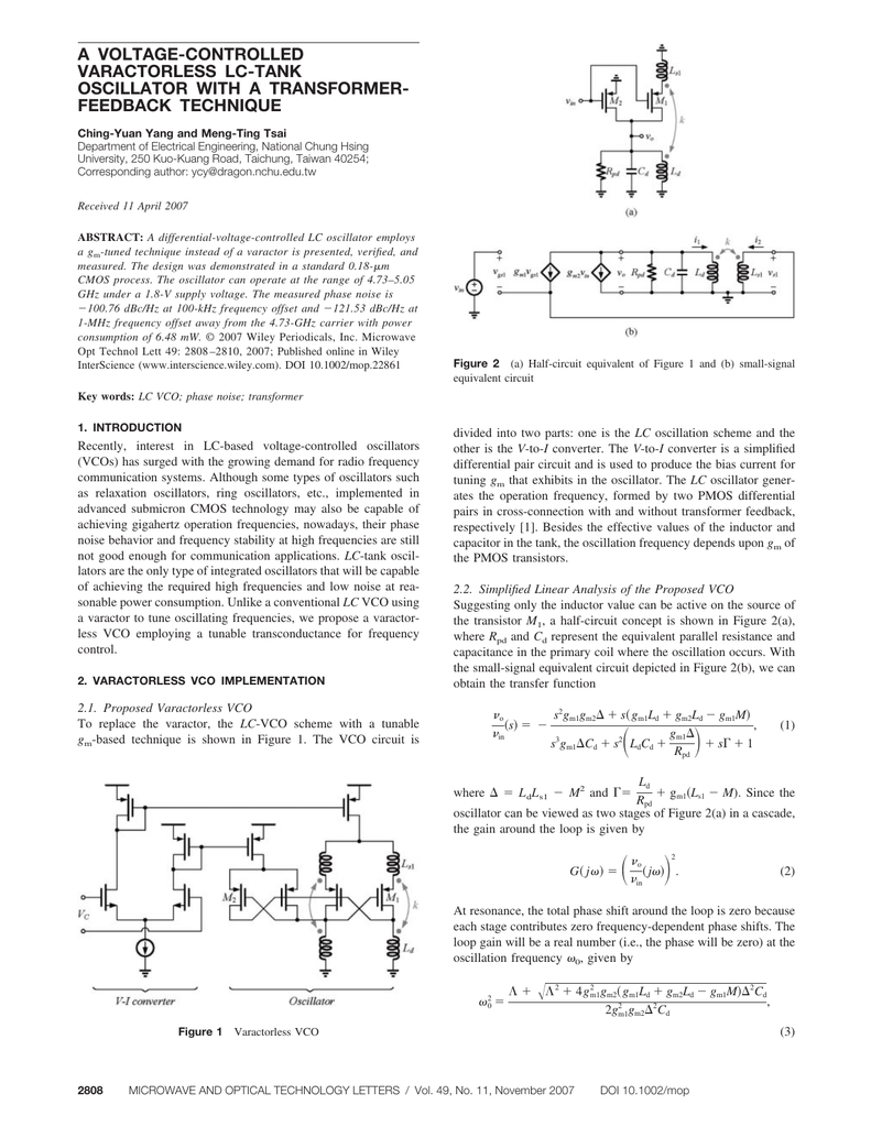 A Voltage Controlled Varactorless Lc Basic Principles Of The Resonance Circuit