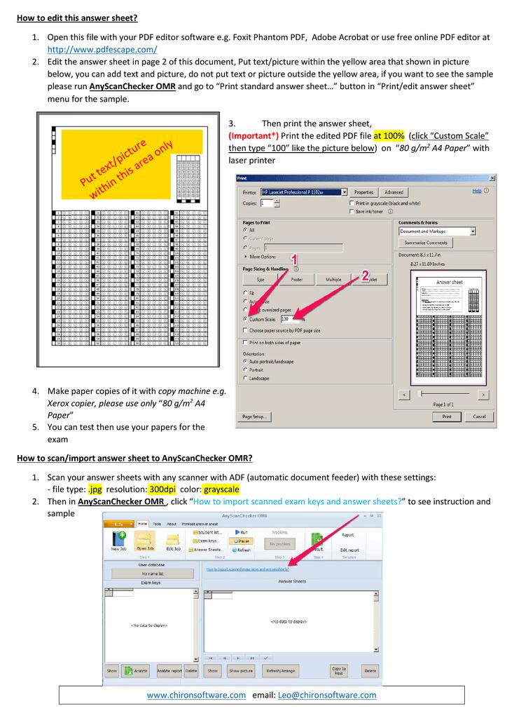 PDF answer sheet for customization