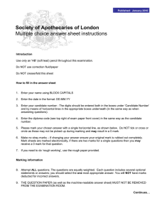 Society of Apothecaries of London Multiple choice answer sheet