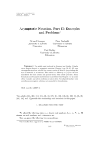 Asymptotic Notation. Part II: Examples and Problems