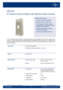 NSO 001 IP Outdoor Intercom Station with Stainless Steel Housing