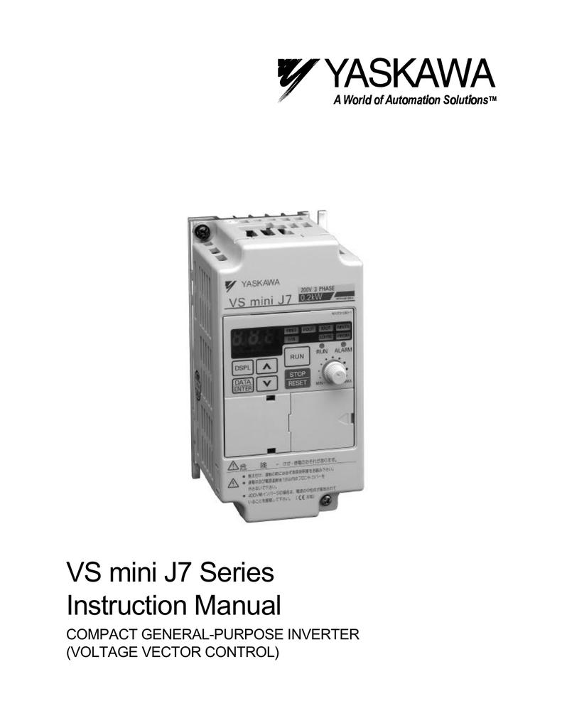 VS mini J7 Series Instruction Manual Magnetic Contactor Wiring Diagram Ph Yaskawa on