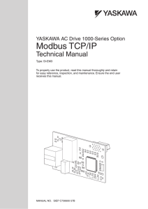 YASKAWA AC Drive 1000-Series Option Modbus TCP/IP Technical