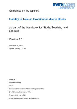 Guidelines on the topic of: Inability to Take an Examination due to