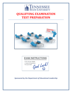 Qualifying Examination Test Preparation Document