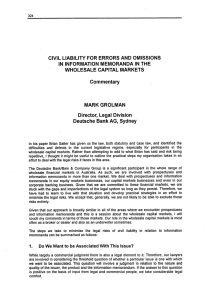 CIVIL LIABILITY FOR ERRORS AND OMISSIONS IN INFORMATION