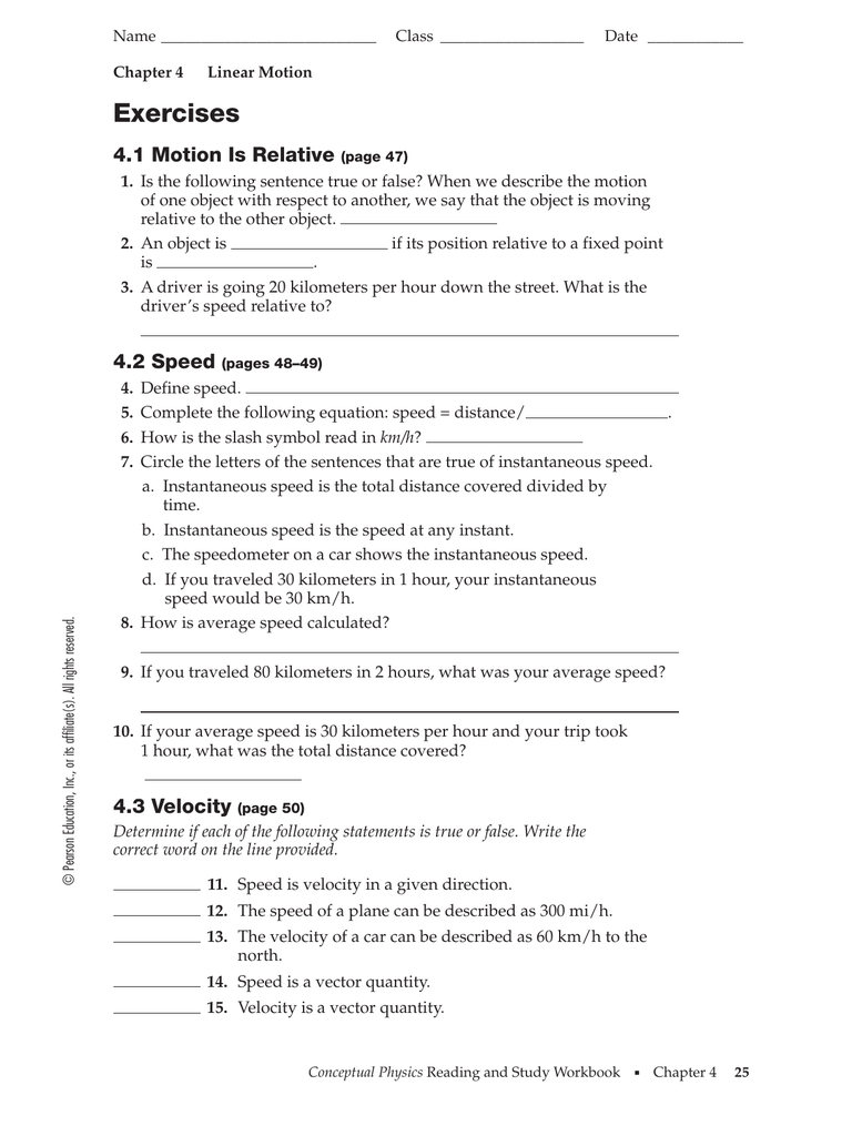 Linear Motion Review WS