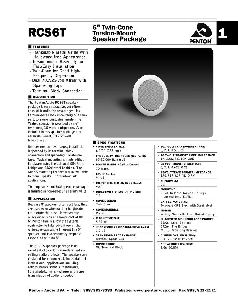 """6"""" Twin-Cone Torsion-Mount Speaker Package"""