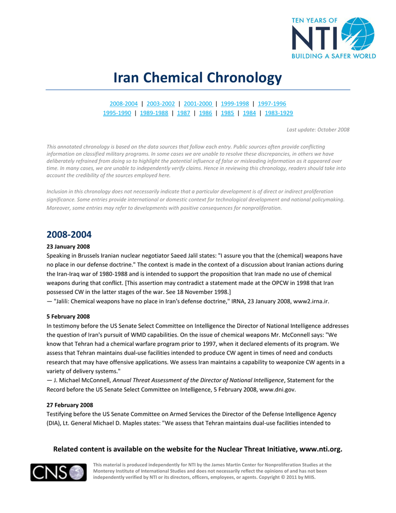 cb1acbf58767 Iran Chemical Chronology - Nuclear Threat Initiative