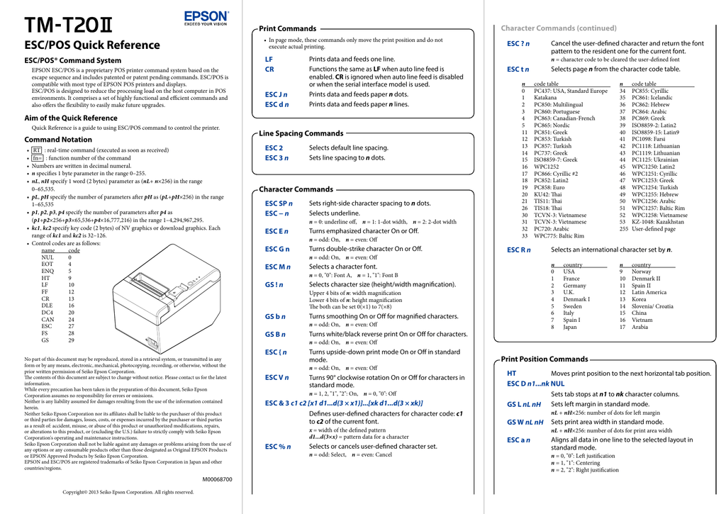 TM-T20II ESC/POS Quick Reference