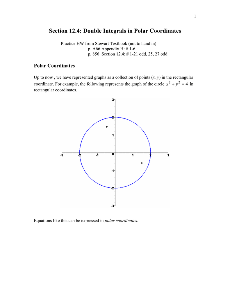 Section 124 Double Integrals In Polar Coordinates
