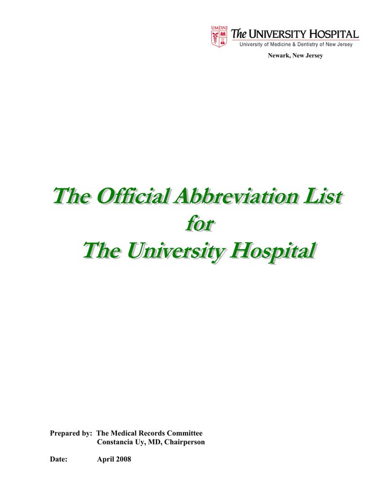Prepared by - University Hospital