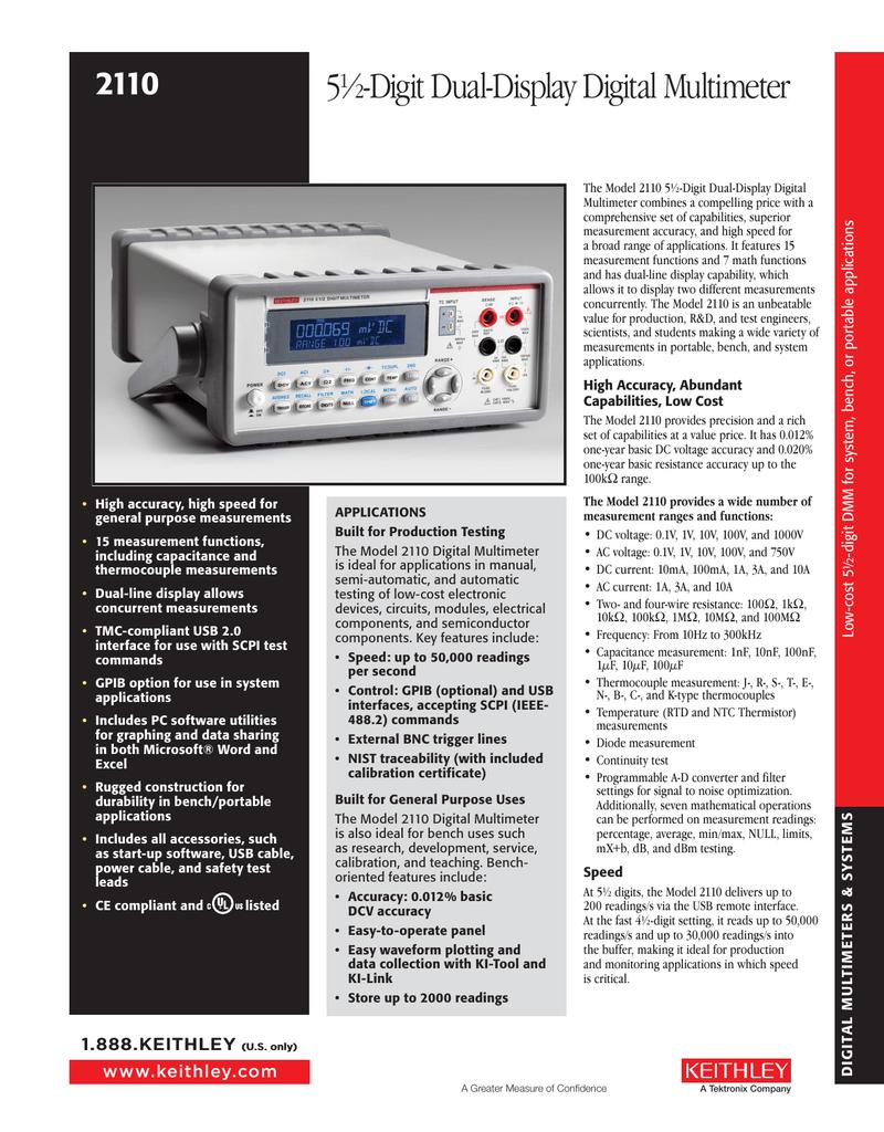 Keithley 2110 5-1/2 Digit Dual-Display Digital Multimeter