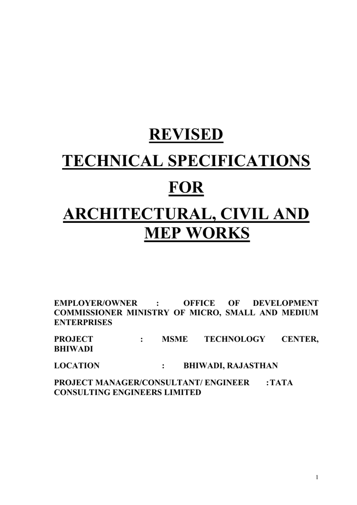 BHIWADI Technical Specifications (Annexure III ) - DC-MSME on