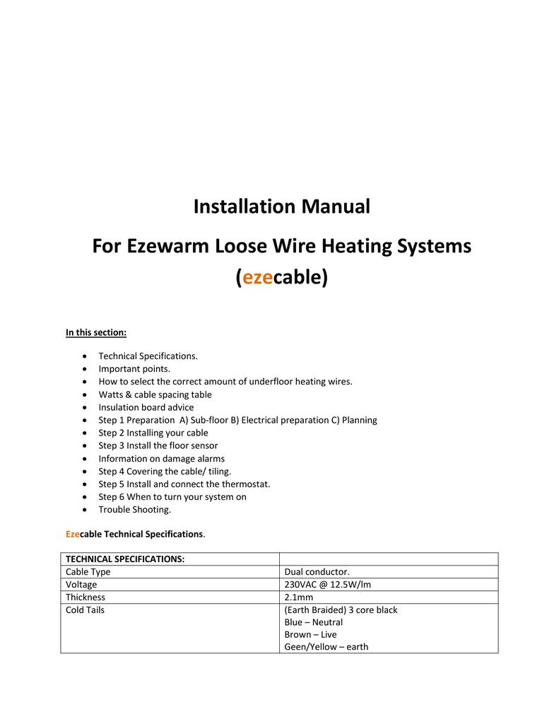 Heating Wiring Diagrams Electric Underfloor Heating Thermostat