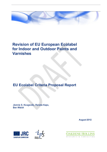Revision of EU European Ecolabel for Indoor and Outdoor Paints