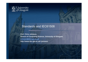 Standards and IEC61508 - School of Computing Science