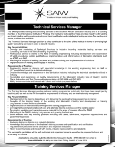 Technical Services Manager Training Services Manager