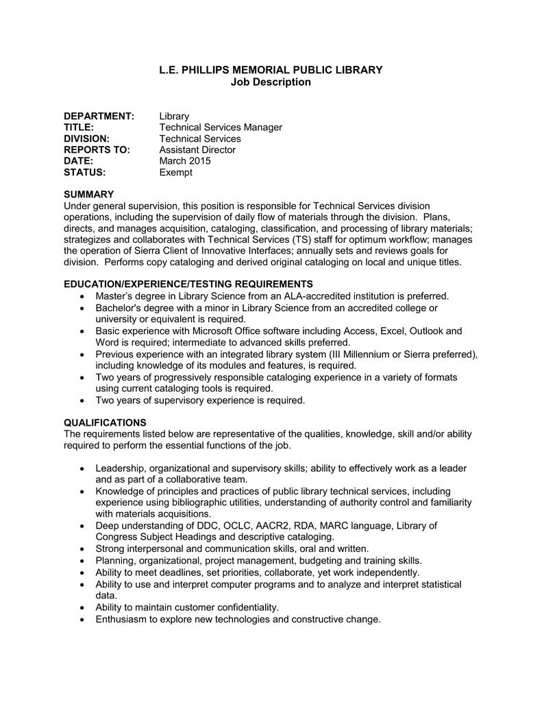 job description for a public