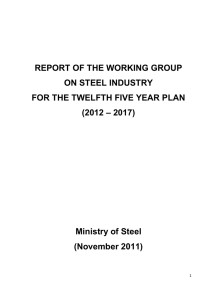 REPORT OF THE WORKING GROUP ON STEEL INDUSTRY FOR
