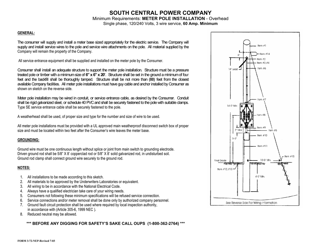 Meter Pole Installation - Overhead