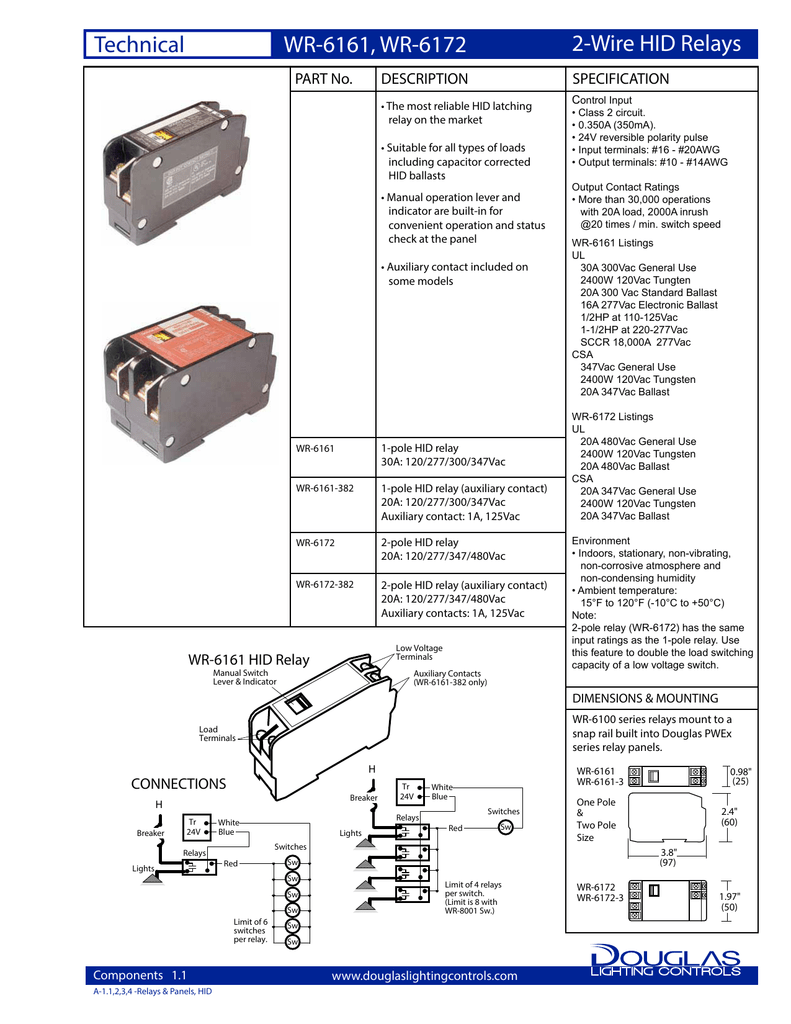 Wr 6161 6172 Cutsheet Electronic Ballast Rated Relay