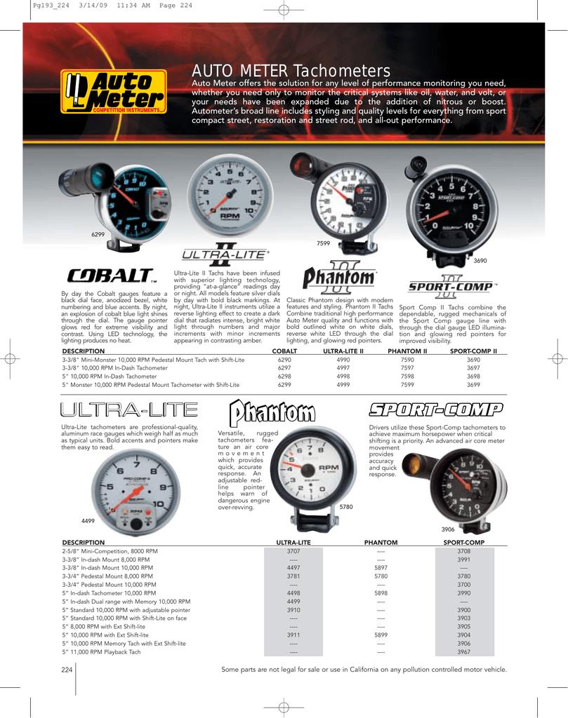 "Auto Meter Shift Light Tachometer Gauge 6299 Cobalt 0 to 10000 RPM 5/"" Electrical"