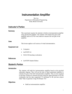 Instrumentation Amplifier - Department of Biomedical Engineering