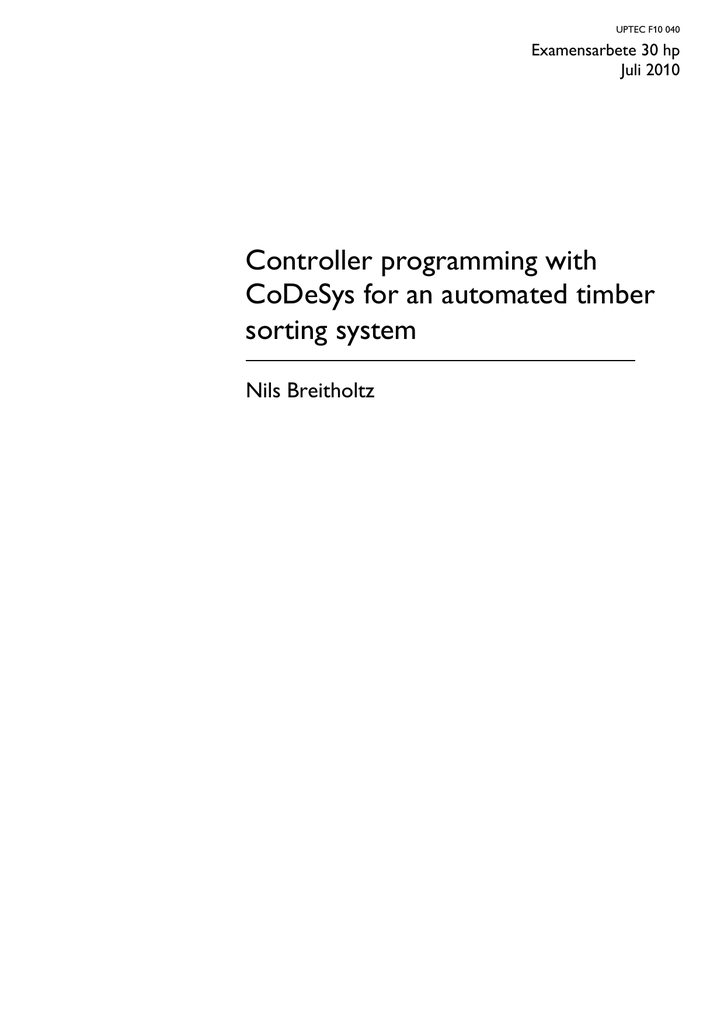 Controller programming with CoDeSys