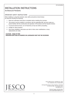 save these instructions important safety installation jesco lighting