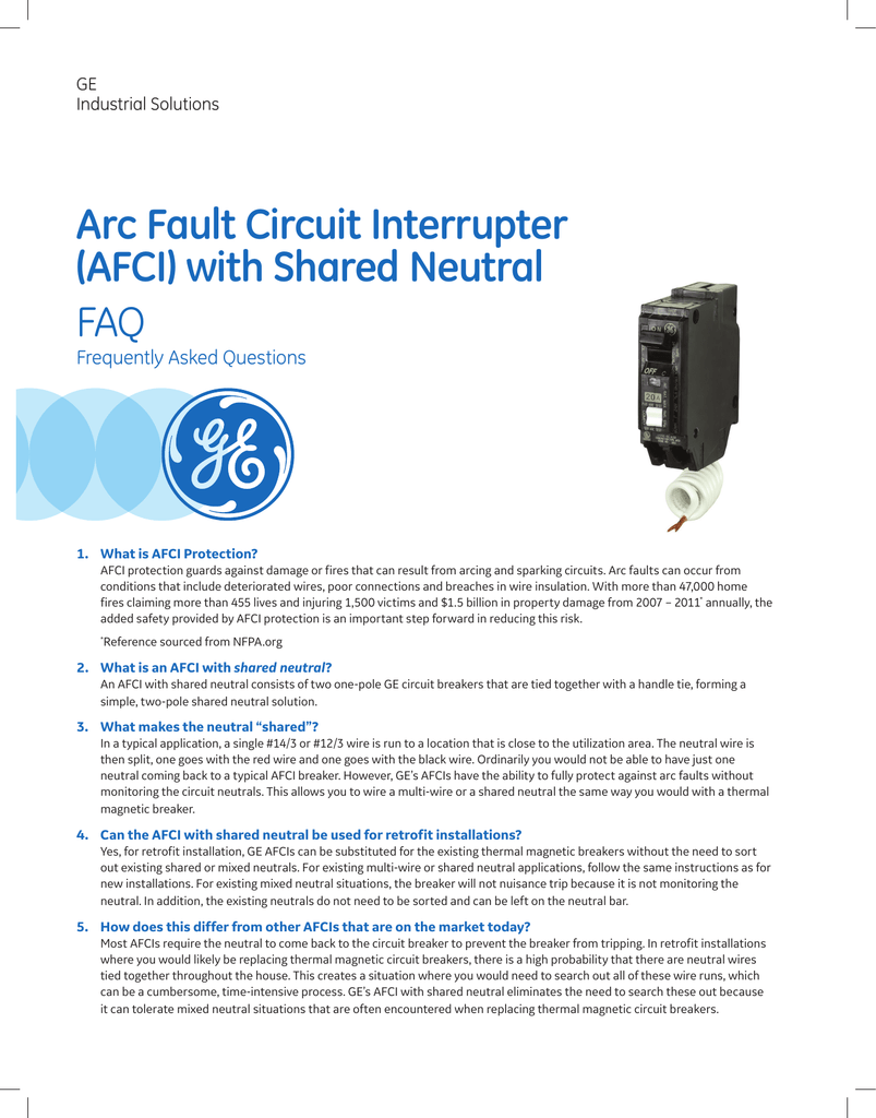 Arc Fault Circuit Interrupter Afci With Shared Neutral Faq Breaker Wiring Diagram On Multiple Lights To