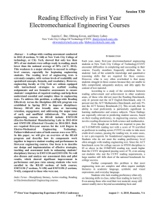 reading effectively in first year electromechanical engineering courses