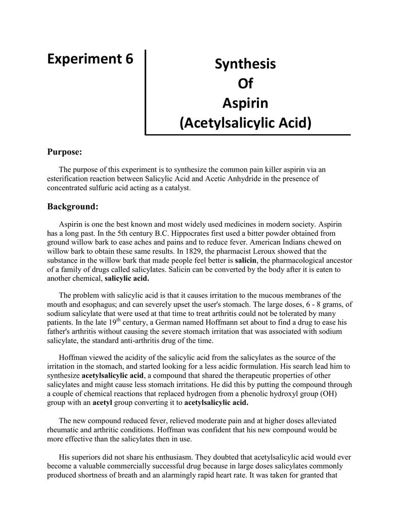 preparation of aspirin lab report conclusion