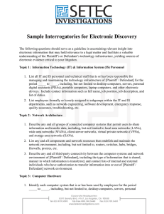 Sample Interrogatories for Electronic Discovery