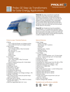 Prolec GE Step Up Transformers for Solar Energy Applications