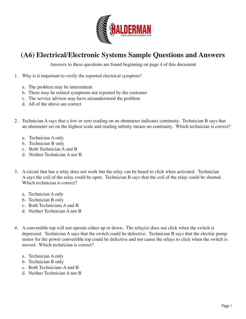 A6) Electrical/Electronic Systems Sample Questions and Answers