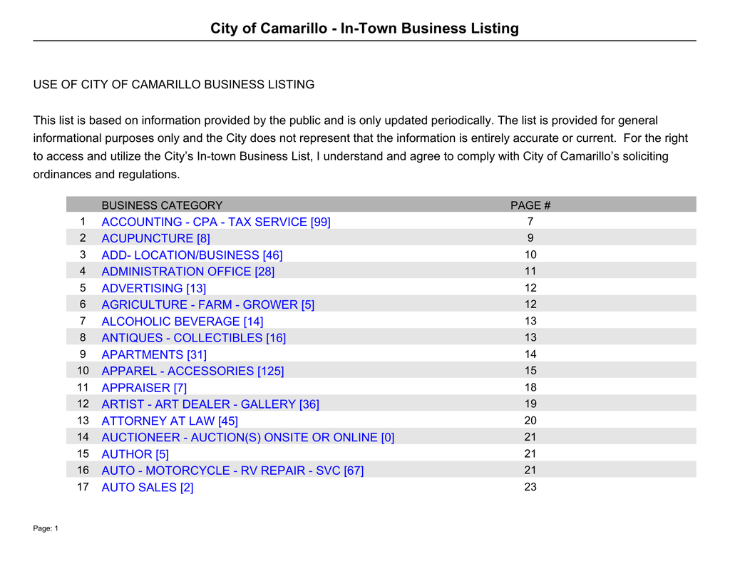 b98225b92af3 City of Camarillo - In-Town Business Listing