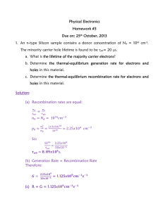 Physical Electronics Homework #3 Due on: 25th October, 2013 1