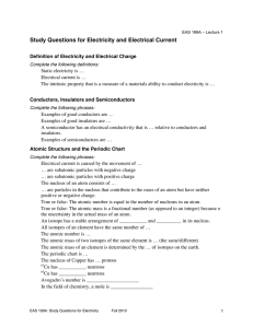 Study Questions for Electricity and Electrical Current