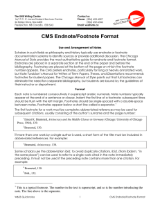 CMS Endnote/Footnote Format - University of New Brunswick
