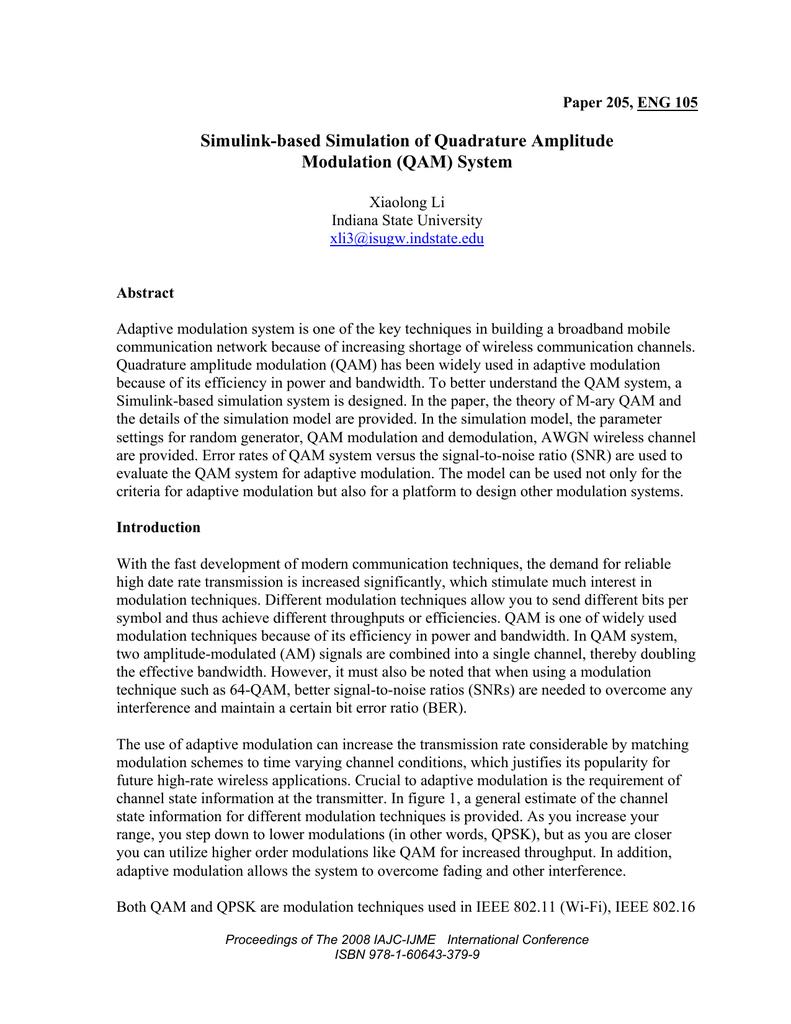 Simulink-based Simulation of Quadrature Amplitude Modulation
