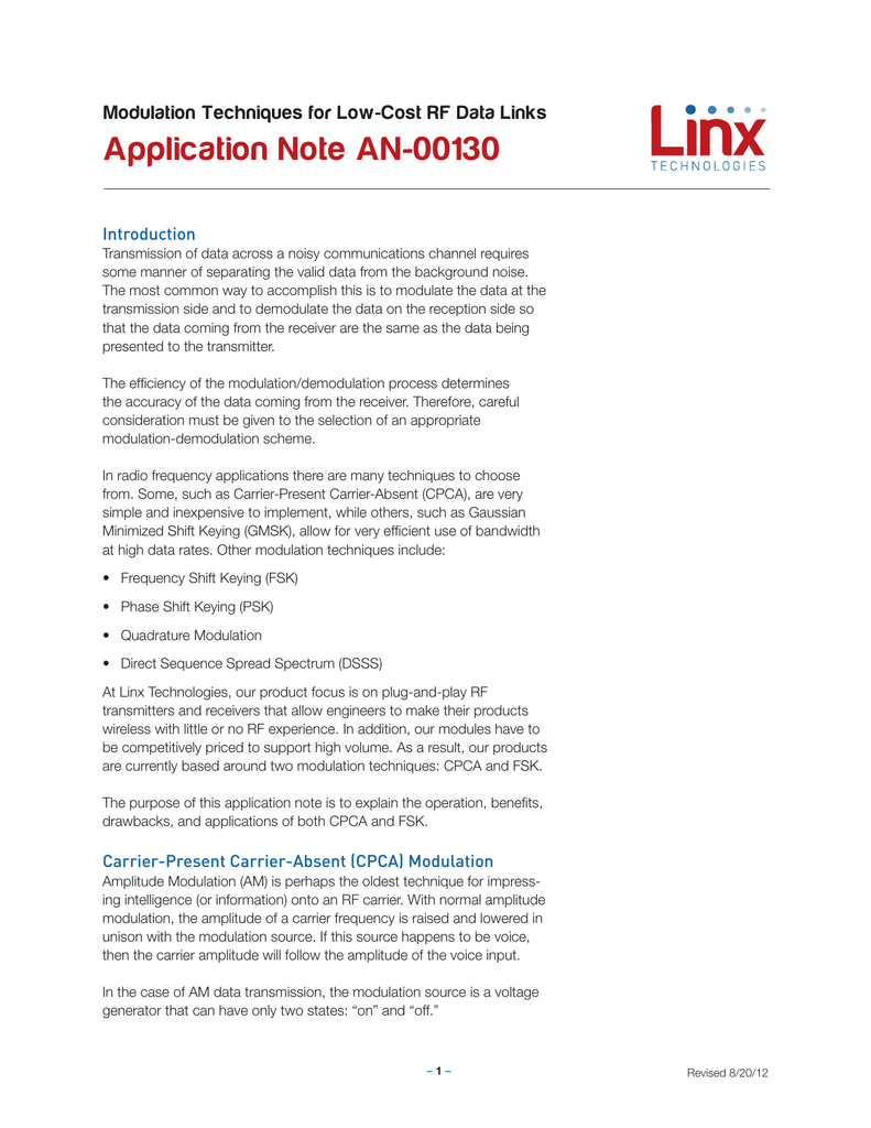 Application Note AN-00130