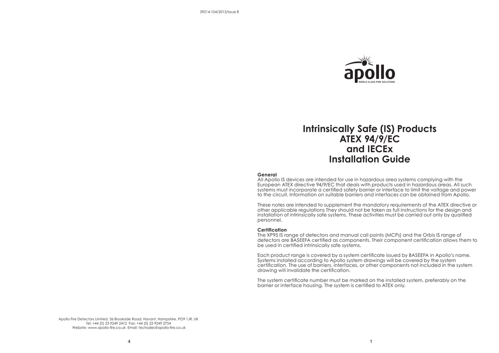Intrinsically Safe Products Compliant With Atex 94 9 Ec