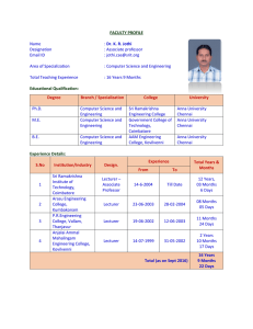 FACULTY PROFILE Name : Dr. K. R. Jothi Designation : Associate