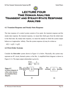 LECTURE FOUR Time Domain Analysis Transient and Steady