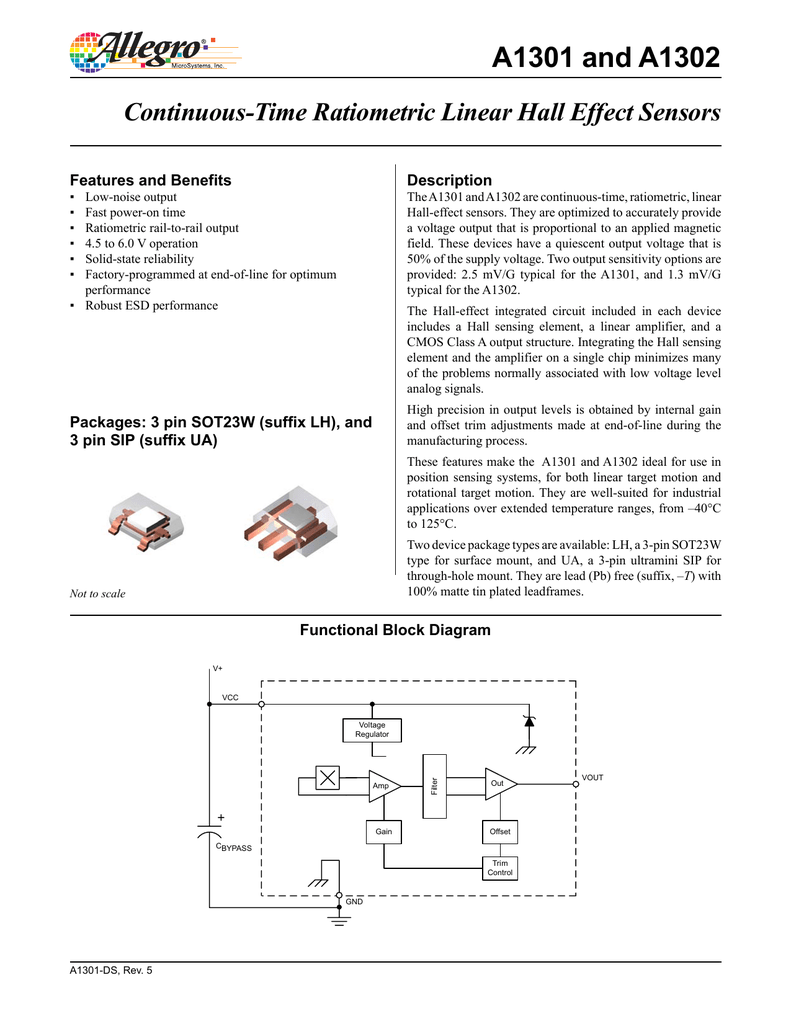 A1302 Hall Effect Sensor Datasheet Diagram