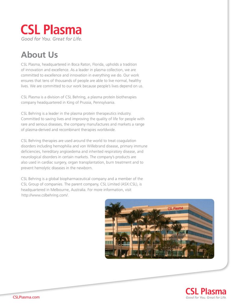 About Us - CSL Plasma